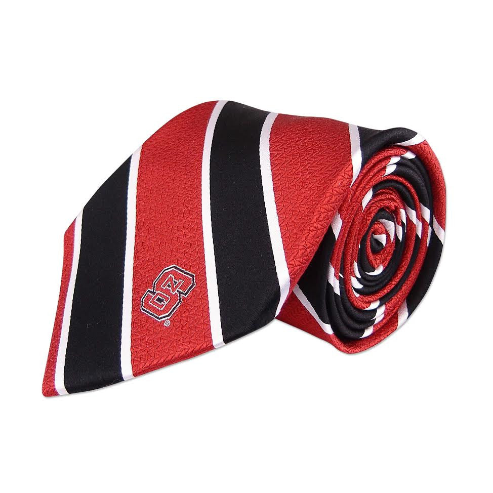 NC State Wolfpack Red and Black Silk Woven Wide Stripe Tie