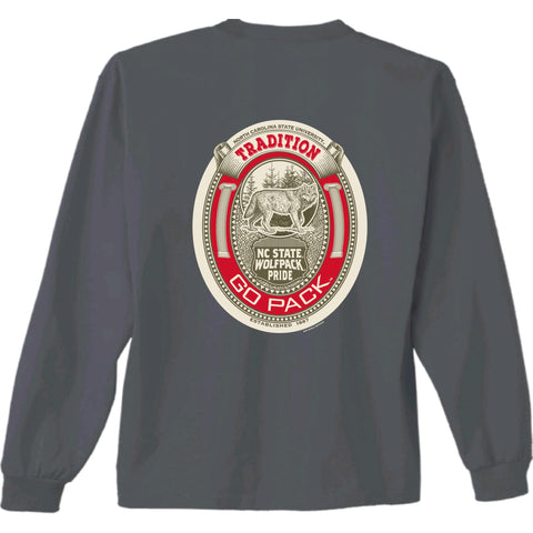 NC State Wolfpack Charcoal Inset Oval Go Pack Long SleeveT-Shirt