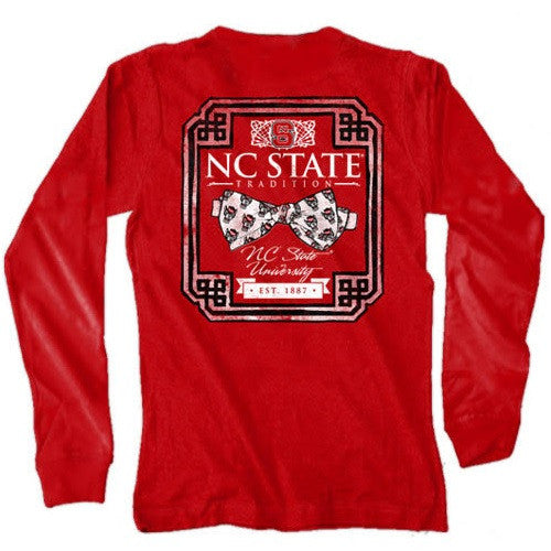 NC State Wolfpack Red Wolfhead Bowtie Long Sleeve Pocket T-Shirt