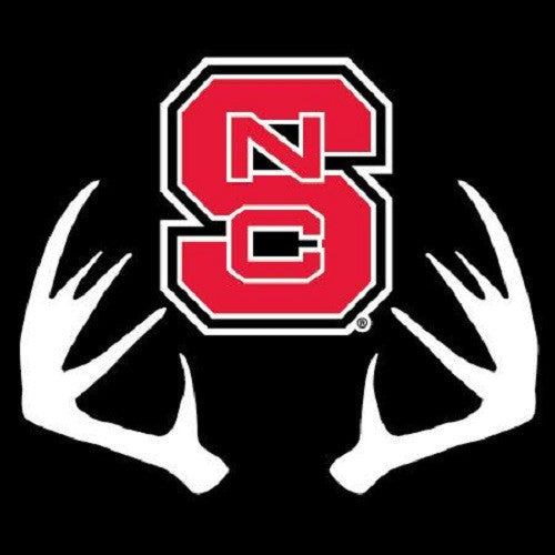 Nc State Wolfpack Block S W Deer Rack Decal Red And