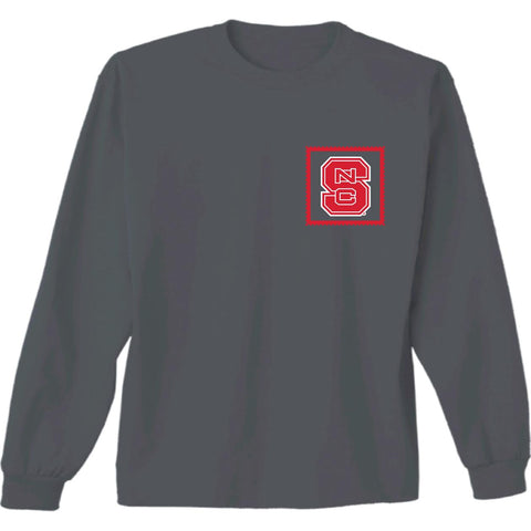 NC State Wolfpack Charcoal Lab Stamp Long Sleeve T-Shirt