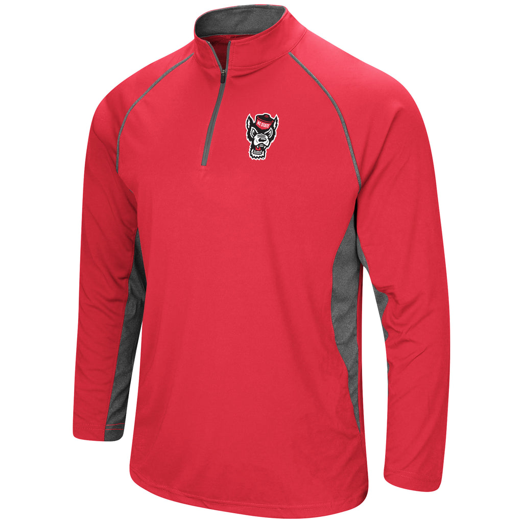 NC State Wolfpack Men's Red Wolfhead Rival Poly 1/4 Zip Pullover Jacket