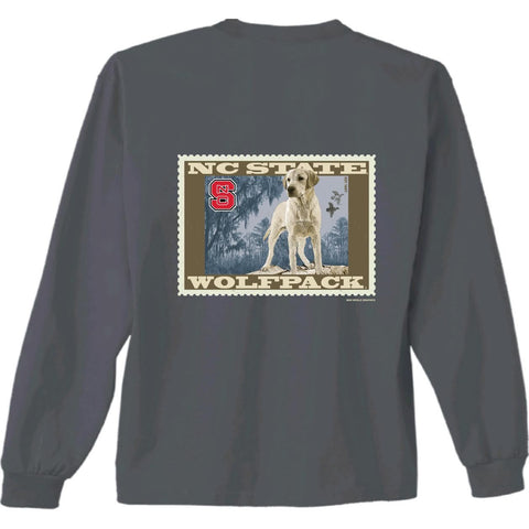 NC State Wolfpack Youth Charcoal Lab Stamp Long Sleeve T-Shirt