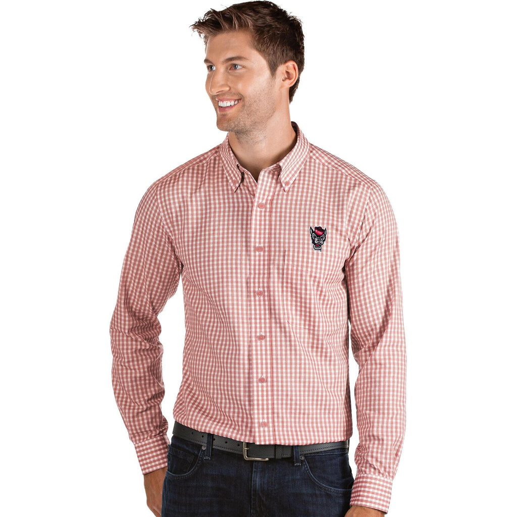 NC State Wolfpack Red and White Checked Wolfhead Structure Dress Shirt