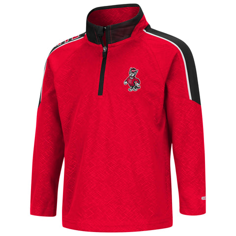 NC State Wolfpack Toddler Boy's Red Bunsen Strutting Wolf 1/4 Zip Jacket