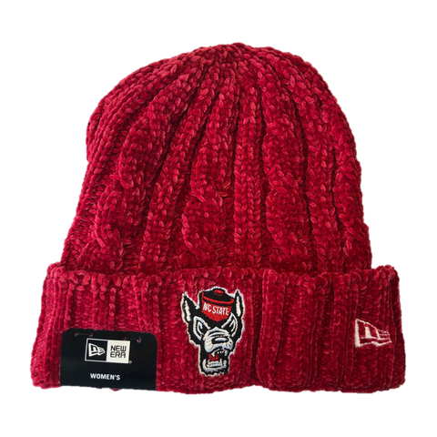 NC State Wolfpack New Era Women's Red Wolfhead Velour Beanie