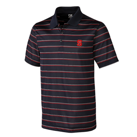 NC State Wolfpack Cutter & Buck Black and Red Striped Venture Polo