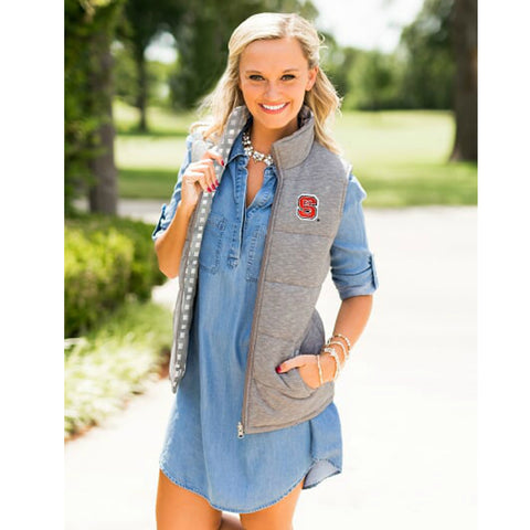 NC State Wolfpack Women's Grey Hide And Chic Convertible Vest