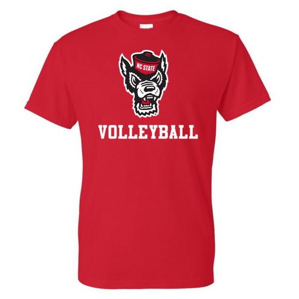 NC State Wolfpack Red Wolfhead Volleyball T-Shirt