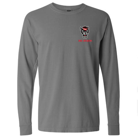 NC State Wolfpack Comfort Colors Grey Wolfhead Flag Long Sleeve T-Shirt