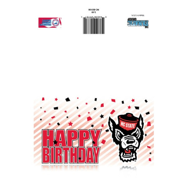 NC State Wolfpack Happy Birthday Confetti Wolfhead Card
