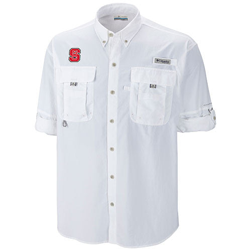 NC State Wolfpack White Bahama Long Sleeve Button Down Shirt