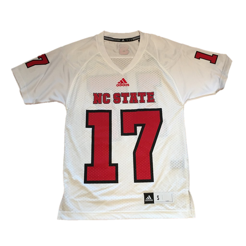 NC State Wolfpack Adidas Youth White #17 Replica Football Sideline Jersey