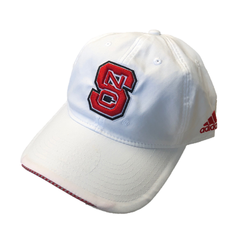 NC State Wolfpack Adidas 2017 White Coaches Sideline Block S Adjustable Hat
