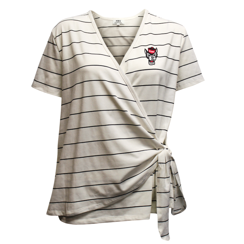 NC State Wolfpack Women's White and Black Striped PIKO Side Tie Wrap Wolfhead Shirt