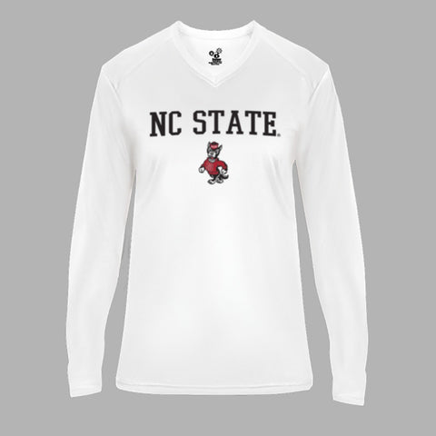 NC State Wolfpack Women's White Strutting Wolf Ultimate Performance V-Neck Long Sleeve T-Shirt