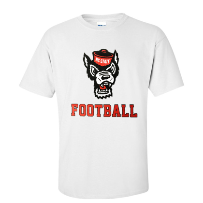 NC State Wolfpack White Wolfhead Football T-Shirt