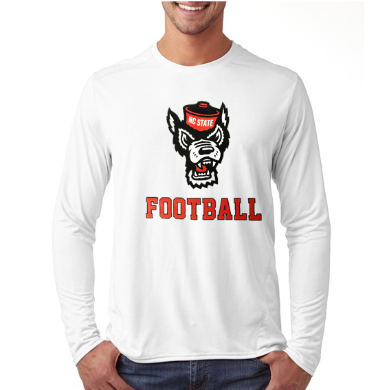 NC State Wolfpack White Wolfhead Football Long Sleeve T-Shirt