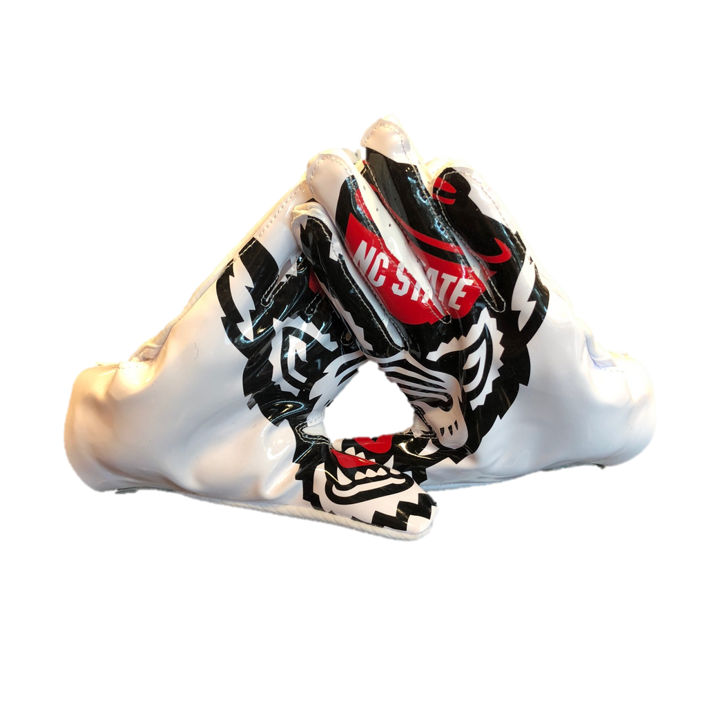 52f6e04a497 NC State Wolfpack Adidas White Adizero 5-Star 7.0 Wolfhead Receiver Gl –  Red and White Shop