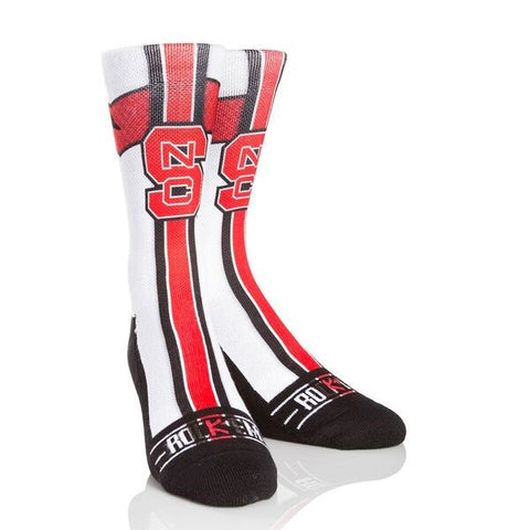 NC State Wolfpack White Jersey Socks