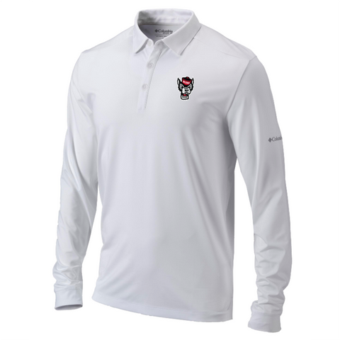 NC State Wolfpack Columbia White Omni-Wick Pin High Long Sleeve Polo