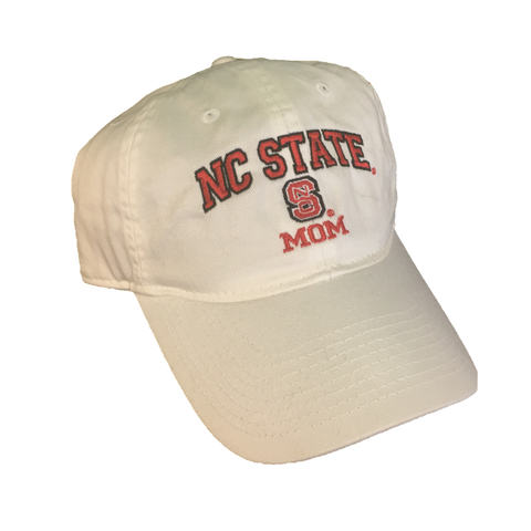 NC State Wolfpack Mom White Relaxed Fit Adjustable Hat