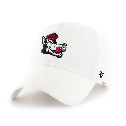 NC State Wolfpack White 47 Brand Clean Up Adjustable Slob Wolf Hat