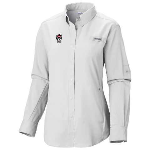 NC State Wolfpack Columbia Women's White Wolfhead Long Sleeve Tamiami