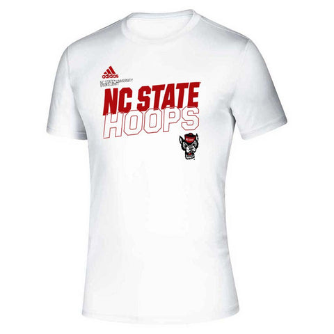 NC State Wolfpack Adidas White On Court Basketball Hoops Creator T-Shirt