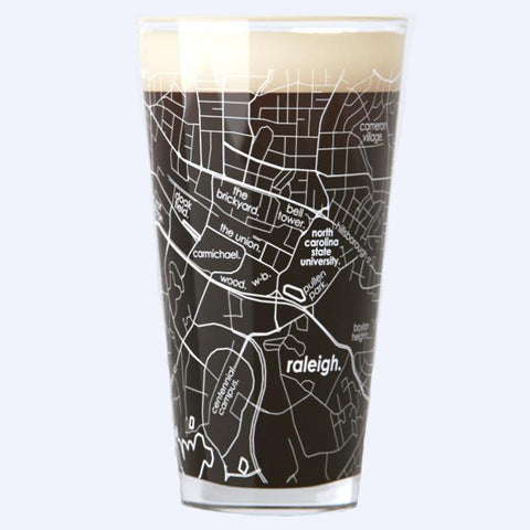 NC State University College Town Map Pint Glass