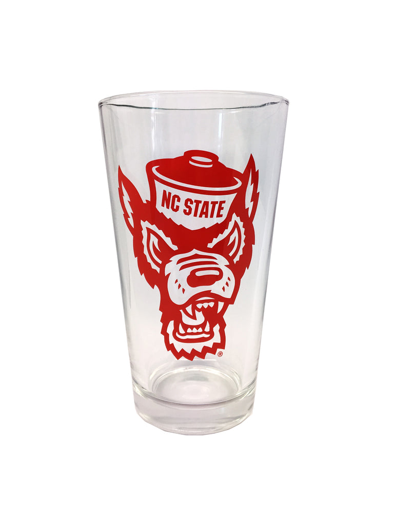 NC State Wolfpack 16oz Wolfhead Red Pint Glass