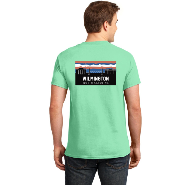 Wilmington Nc Skyline Seafoam Green T Shirt Red And