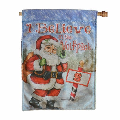 NC State Wolfpack I Believe Christmas House Flag