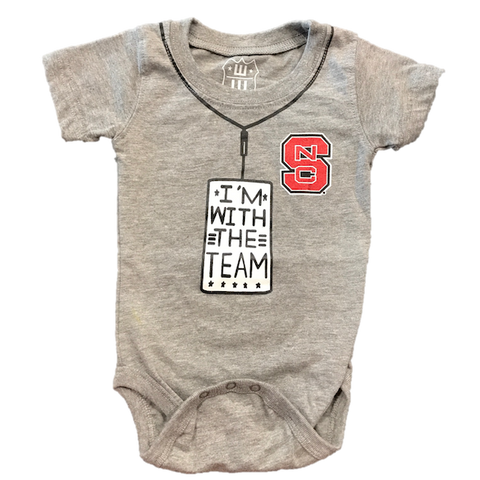 NC State Wolfpack Infant Charcoal Im With the Team Onesie