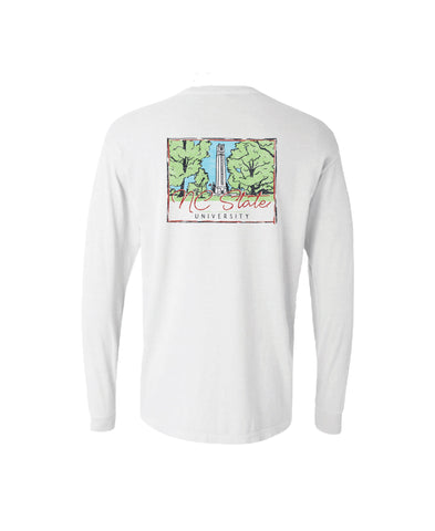 NC State Wolfpack Comfort Colors White Bell Tower Long Sleeve T-Shirt