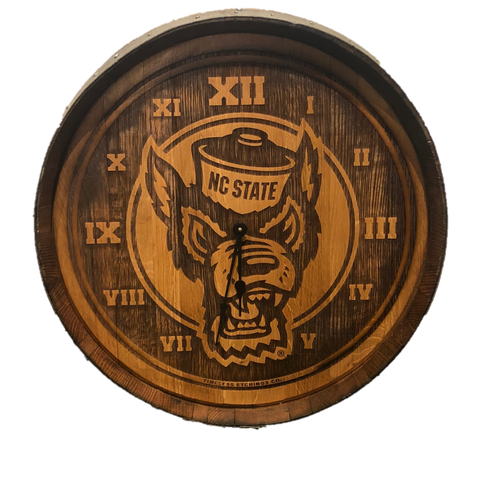 NC State Wolfpack Authentic Barrelhead Wolfhead Clock