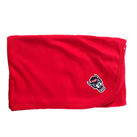 NC State Wolfpack Red Wolfhead Baby Blanket