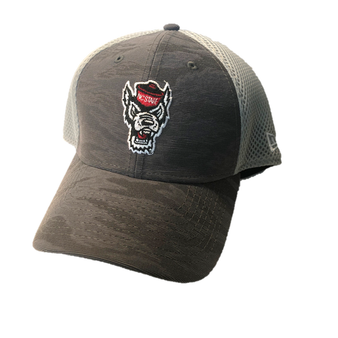 NC State Wolfpack New Era Youth Grey Camo Fronted Wolfhead Mesh Fitted Hat