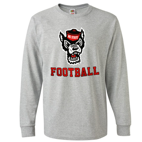 NC State Wolfpack Grey Wolfhead Football Long Sleeve T-Shirt