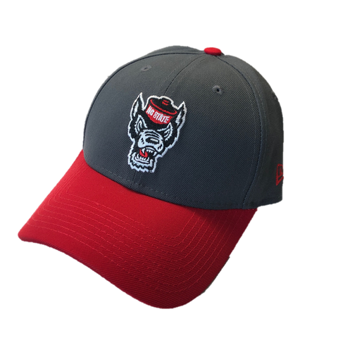 NC State Wolfpack New Era Grey and Red Wolfhead League Adjustable Hat