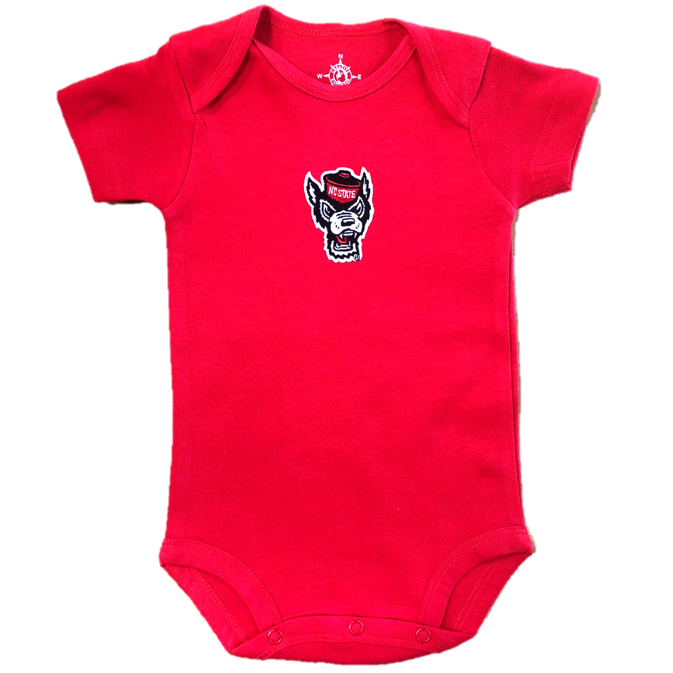 NC State Wolfpack Infant Red Wolfhead Onesie