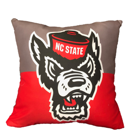 NC State Wolfpack Grey and Red Wolfhead Pillow
