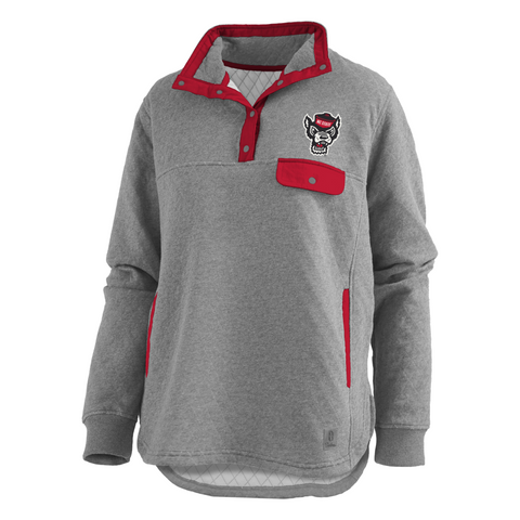 NC State Wolfpack Women's Heathered Grey Wolfhead Northfolk Quilted Pullover