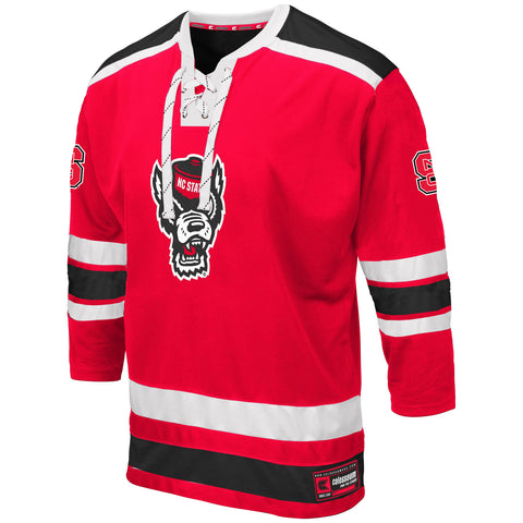NC State Wolfpack Red Brobibs Wolfhead Hockey Jersey