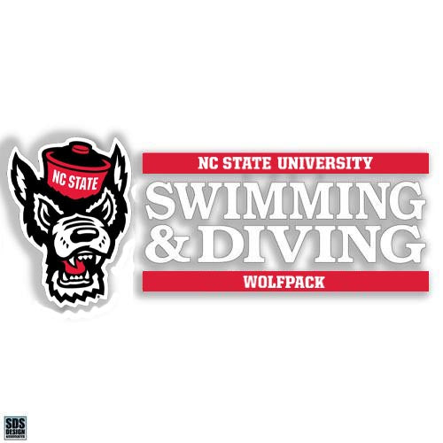 NC State Wolfpack Wolfhead Swimming and Diving Vinyl Decal
