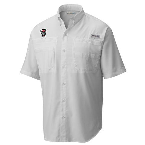 NC State Wolfpack Columbia White Wolfhead Tamiami Button Down Shirt