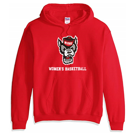 NC State Wolfpack Red Wolfhead Women's Basketball Hooded Sweatshirt
