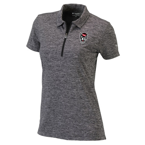 NC State Wolfpack Columbia Women's Heathered Black Drift Polo