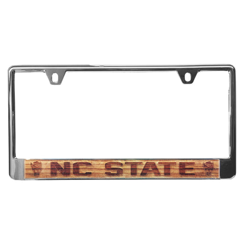 NC State Wolfpack Wood Design NC State Metal License Plate