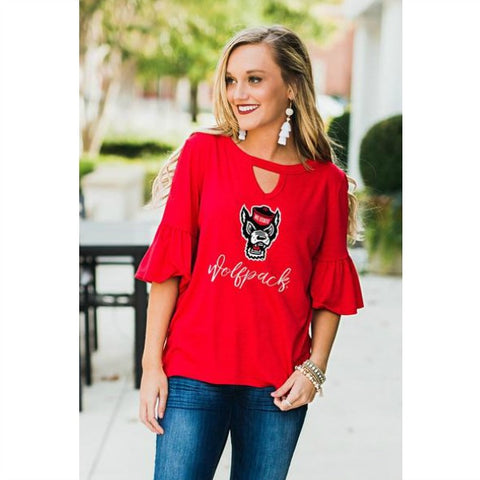 NC State Women's Red Wolfhead Keyhole Ruffle Sleeve Shirt